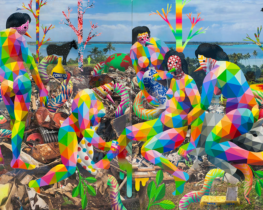 Royal-family-of-the-Plastic-Island-2018-Synthetic-enamel-on-wood-300x200cm